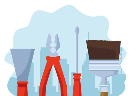 construction tools over under construction scenery background, colorful design , vector illustration