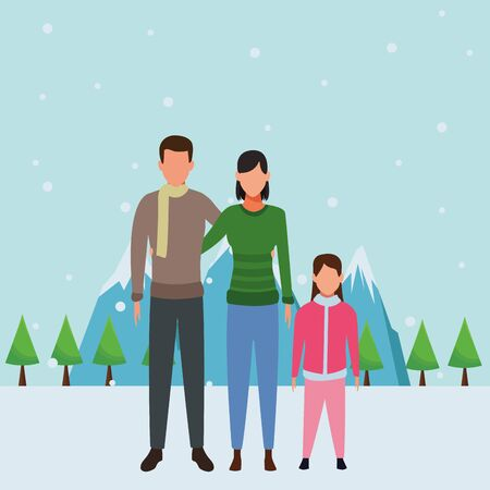 family avatars cartoon character wearing winter clothes snow mountain lanscape vector illustration graphic design Illusztráció