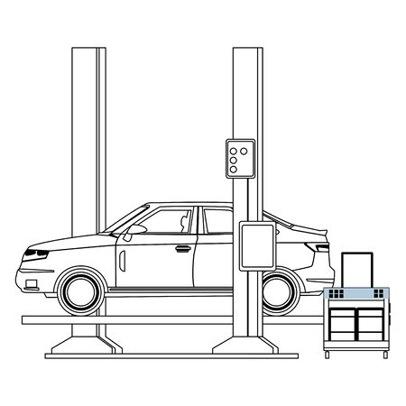 industry car manufacturing assembly car cartoon vector illustration graphic design Ilustração