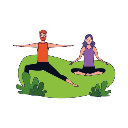 happy couple doing yoga outdoor over white background, colorful design, vector illustration