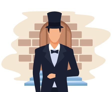elegant groom with top hat over door and bricks background, colorful design, vector illustration