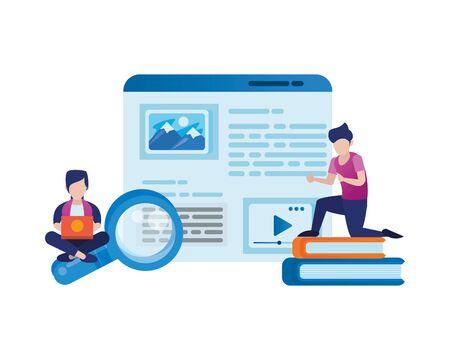 young men using laptop and social media icons vector illustration design