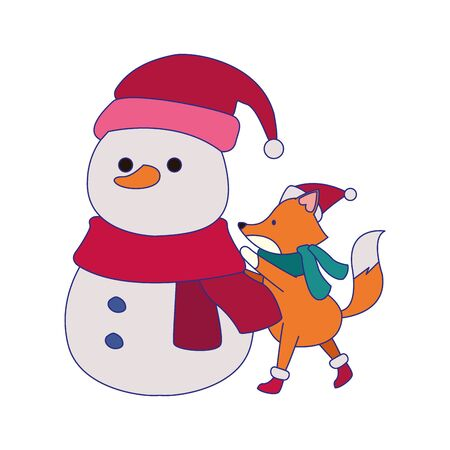 cartoon snowman and christmas fox over white background, vector illustration