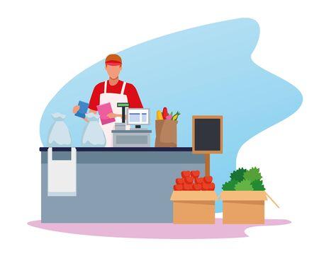 avatar man worker in supermarket cash register with groceries on the band over white background, colorful design , vector illustration Ilustração