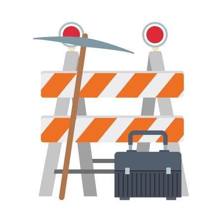 safety barrier with pickaxe and tools box icon over white background, vector illustration