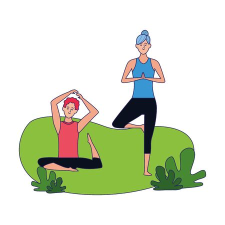 woman and man practicing yoga outdoors over white background, colorful design, vector illustration Illustration