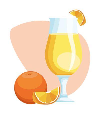 orange juice glass and fruit over white background, colorful design , vector illustration