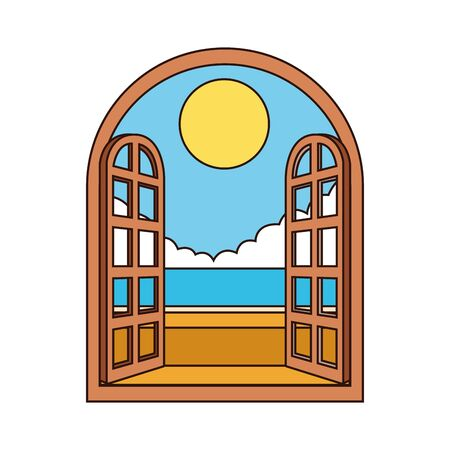 window with beautiful landscape over white background, vector illustration