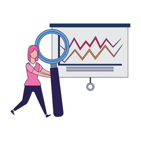 board with graphic chart and happy woman with big magnifying glass over white background, vector illustration