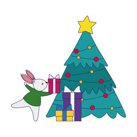 christmas tree and cute rabbit with gift boxes over white background, vector illustration