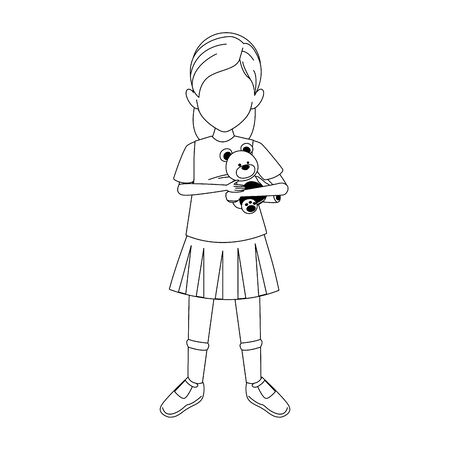 girl with teddy bear icon over white background, vector illustration
