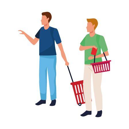 avatar men with supermarket baskets over white background, vector illustration