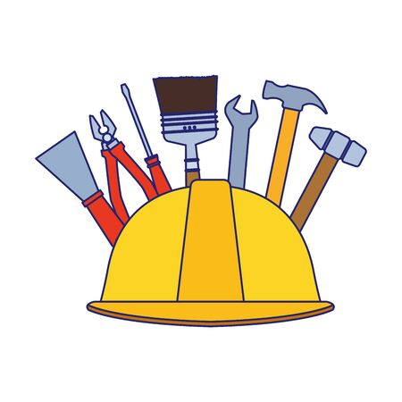 helmet with repair tools around over white background, vector illustration