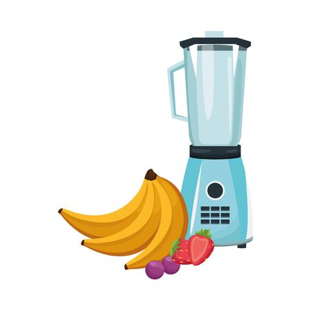 blender with bananas and fruits over white background, vector illustration