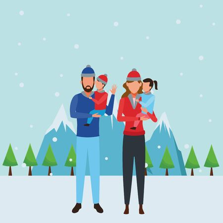 family avatars cartoon character wearing winter clothes snow mountain landscape vector illustration graphic design Illusztráció