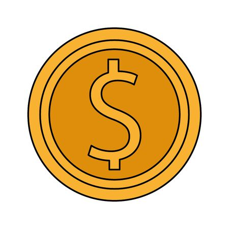 money coin icon over white background, colorful design, vector illustration 일러스트