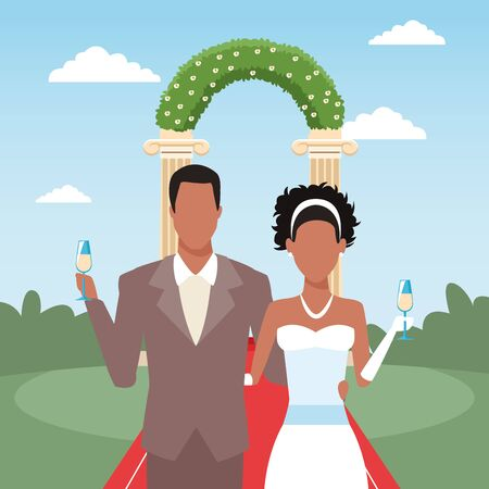 just married couple holding champagne glasses, colorful design, vector illustration  イラスト・ベクター素材