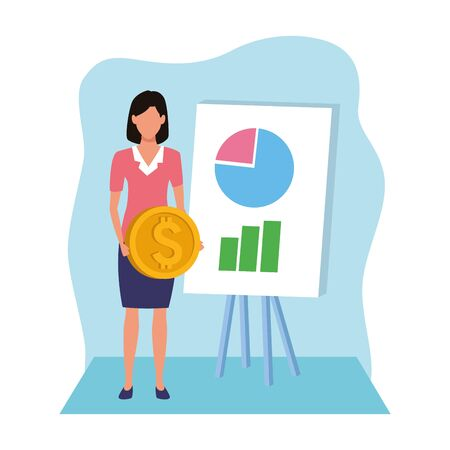 avatar businesswoman holding a money coin and board with graphic charts over blue and white background, colorful design , vector illustration