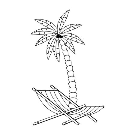 palm beach and chair icon over white background, vector illustration