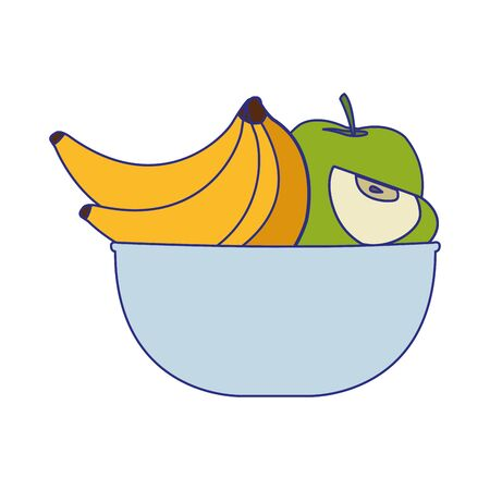 bowl with bananas and apples icon over white background, vector illustration