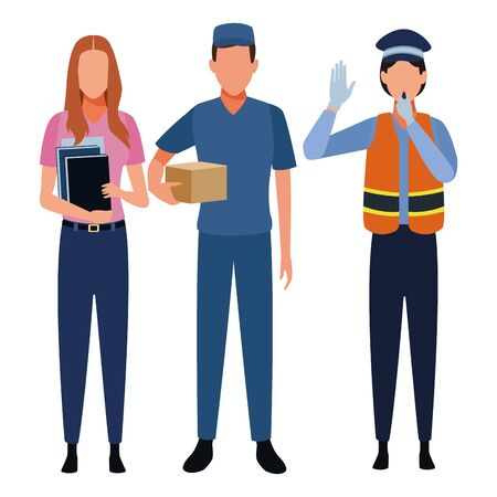 Jobs and professions professionals workers isolated vector illustration graphic design Ilustração