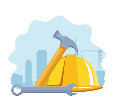 safety helmet with hammer and wrench tool over white background, colorful design , vector illustration