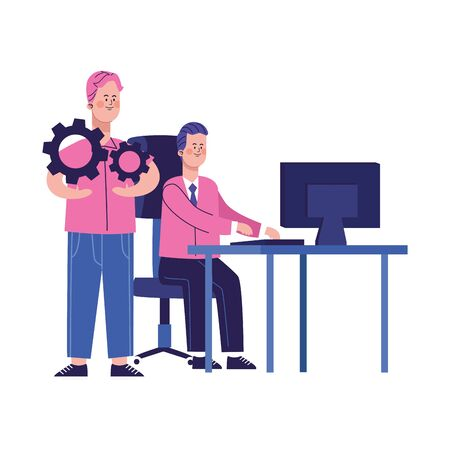 cartoon man working at office desk and man with gear wheels over white background, colorful design, vector illustration