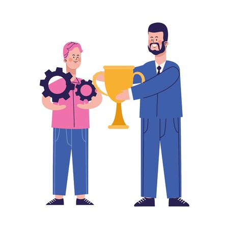 cartoon happy boy with gear wheels and businessman holding a trophy cup over white background, vector illustration