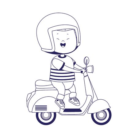happy boy riding a classic motorcycle over white background, flat design, vector illustration