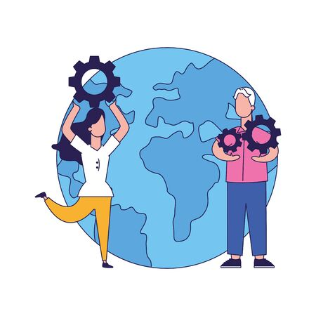 earth planet and man and woman with gear wheels over white background, vector illustration