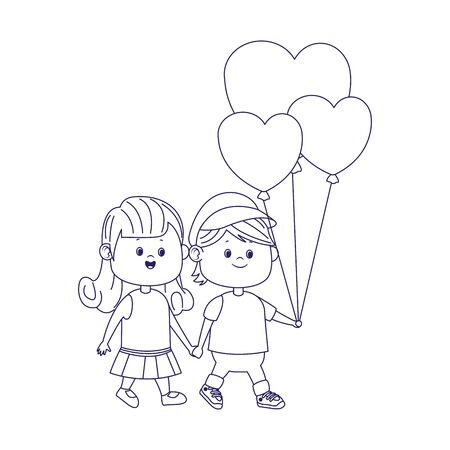 happy girl and boy walking with hearts balloons over white background, flat design, vector illustration