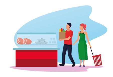 grocery stores with people characters vector illustration design  イラスト・ベクター素材