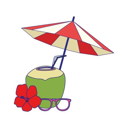 beach parasol with coconut drink and glasses over white background, vector illustration