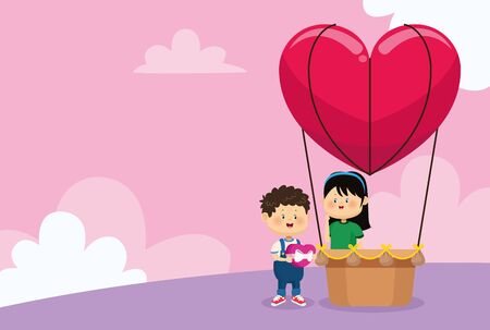 heart air balloon with cute girl and woman over pink background, colorful design, vector illustration
