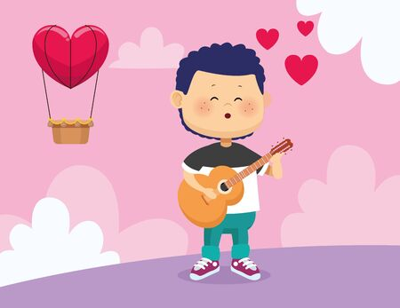 happy boy playing guitar and singing over hot air balloon with heart shape and pink background, colorful design, vector illustration