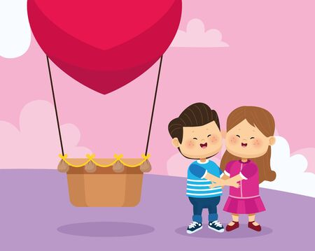 heart hot air balloon and happy couple over pink background, colorful design, vector illustration