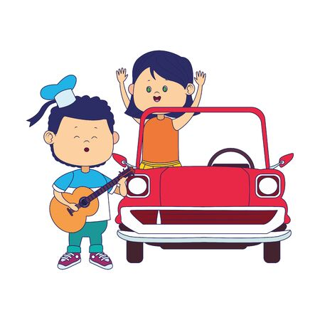 cartoon boy singing and playing guitar and girl in classic car over white background, colorful design, vector illustration Иллюстрация