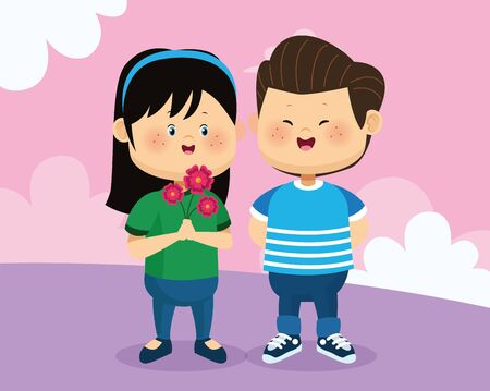 cartoon happy boy and girl with flowers over pink background, colorful design, vector illustration