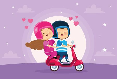 cute little kids couple lovers in motorcycle vector illustration design