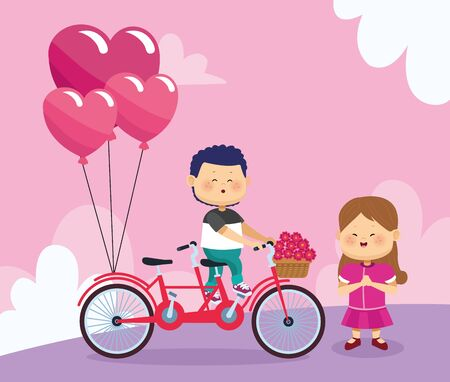 happy girl and boy on double bike with hearts balloons and flowers over pink background, colorful design, vector illustration Illustration