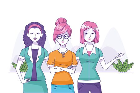 cartoon women wearing fashion clothes over white background, colorful design, vector illustration