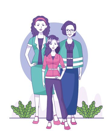 old woman, woman and teenager girl standing over white background, colorful design, vector illustration