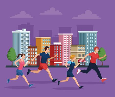group of people running on the city vector illustration design
