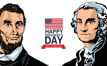 happy presidents day poster with lincoln and washington vector illustration design