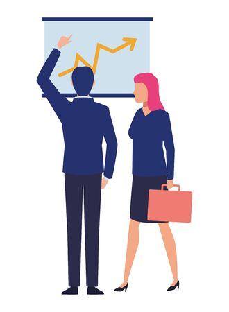 business business people businessman back view pointing a data chart and businesswoman carrying a briefcase avatar cartoon character vector illustration graphic design