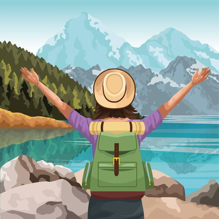Beautiful lake and mountains landscape with traveler woman with hat and backpack,colorful design, vector illustration Illusztráció