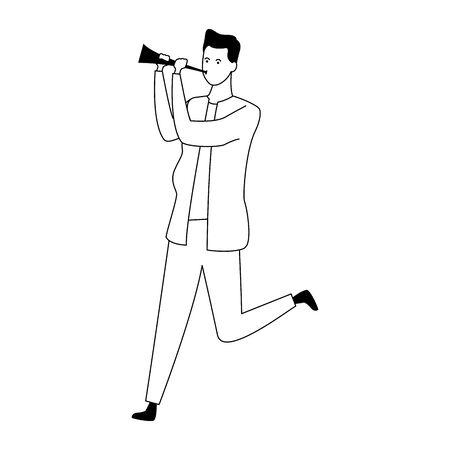 cartoon man with spyglass icon over white background, vector illustration Illusztráció