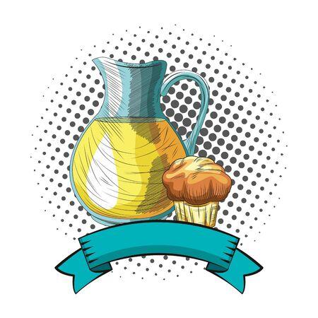 Fresh fruit nutrition healthy grouped orange juice jar and muffin fitness diet options round frame ribbon banner vector illustration graphic design Illusztráció