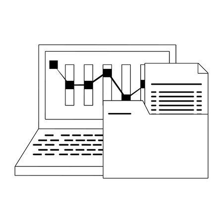 Online stock market investment laptop and folder symbols in black and white vector illustration