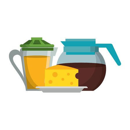 Breakfast morning food orange juice jat and coffee kettle with cheese cartoons vector illustration graphic design Illusztráció